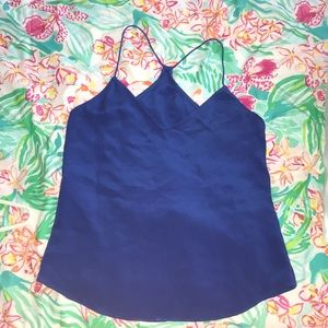 j. crew - thin strap v-neck silk blue carrie cami